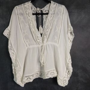 ZARA | White Bohemian Lace Batwing Blouse Size Lg